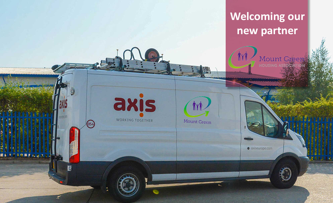 Axis van with client logo welcoming new partner mount green housing association