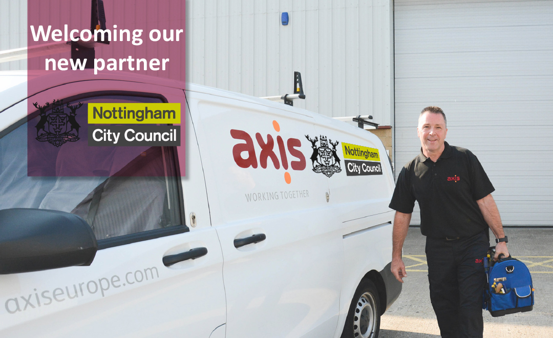 Axis person stood beside van welcoming new partner Nottingham council