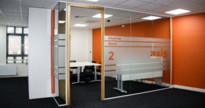 Glass panelled office meeting room design