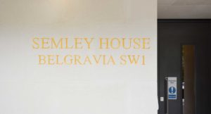 Semley House gold leaf engraving into portland stone