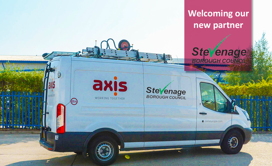 Axis van with Stevenage client logo on the side