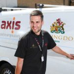 Axis operative stood in front of an Axis-Hillingdon van