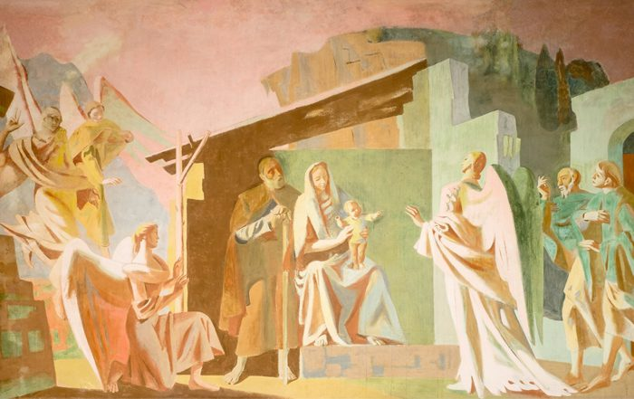 Restored mural showing biblical angels
