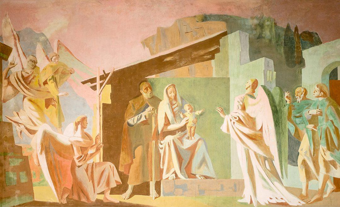Restored mural showing biblical angels