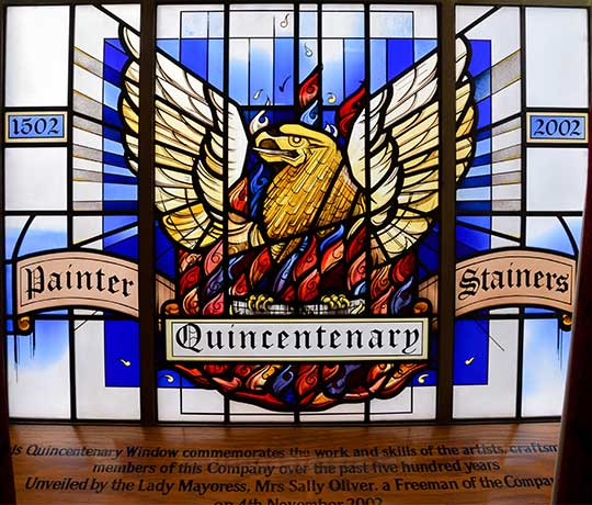 Stained glass window in the Livery Hall of the Worship Company of Painter Stainers