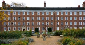Exterior shot of Gray's Inn showing gardens and entrance way