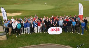 The celebrities and guests ready to play golf for the Axis Charity Golf Day