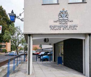 Shepherds Bush police station entrance