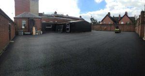 Resurfaced car park at Hornsey police station
