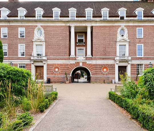 Entrance way to Devonport House University of Greenwich accommodation