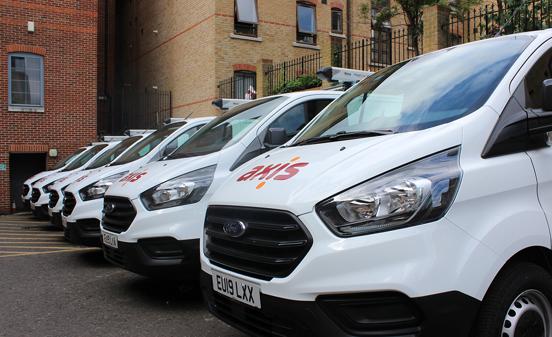 Axis vans lined up in stratford before beginning work on a new contract win with estuary housing