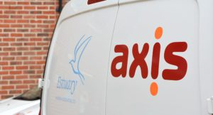 White Axis van showing Esturary and Axis branding.