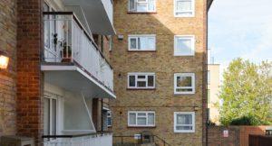 Newly refurbished balconies on Gravesham residential flats.