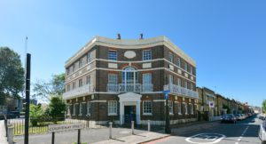 The exterior of L & Q owned 3 storey flats on Kennington Lane.