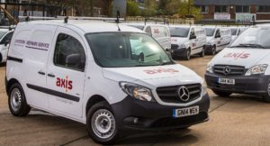 White Mercedes van showing Axis and Croydon Council dual branded logos.
