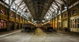 Victorian style indoor market stalls named Apple Market