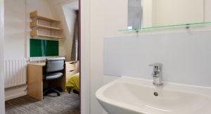 Brunel University interior shot of student bedroom and new bathroom basin