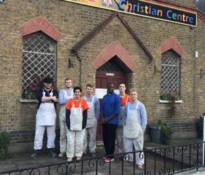 Axis apprentices standing in front of Tabernacle Christian Centre