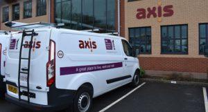 van with purple logo warwick dc and orange axis logo sideways view