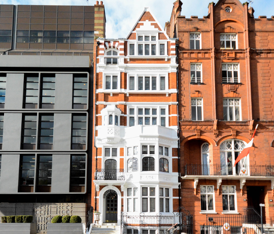 Sloane street exterior of a 4-storey high-end Victorian property