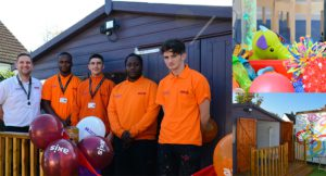 Exterior shot of Axis Apprentices in orange shirts at opening Sensory Cabin built for The Maypole Project with insets of Cabin and toys