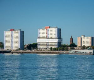 Three Tower Blocks on the water front that are part of the external wall insulation contract