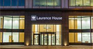 Exterior shot of revolving doors at Laurence House in Lewisham