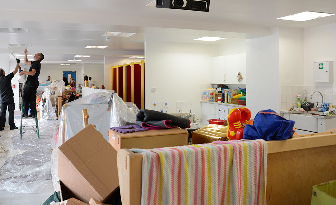 Axis people volunteer to help refurbish a nursery on our contract with Estuary