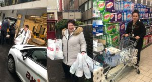Collage of shopper in supermarket with trolley; girl with bags and Croydon Axis van