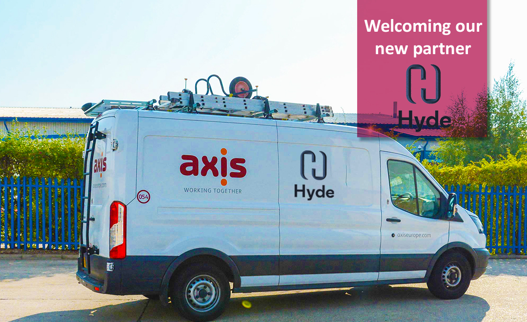 Axis van with Hyde client logo announcing new contract.