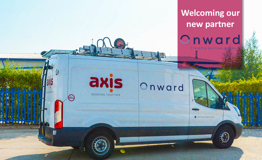 Axi van with client logo announcing new partnership with Onward
