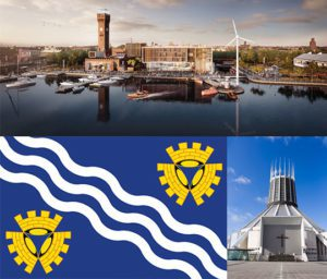 Collage Liverpool Flag, Liverpool Cathedral and river