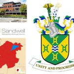 Sandwell Crest and map, log and council building