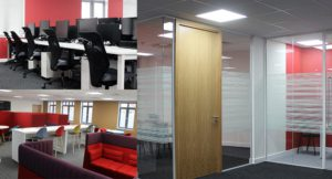 Collage of interiors of Tramway offices including work leisure and meeting stations