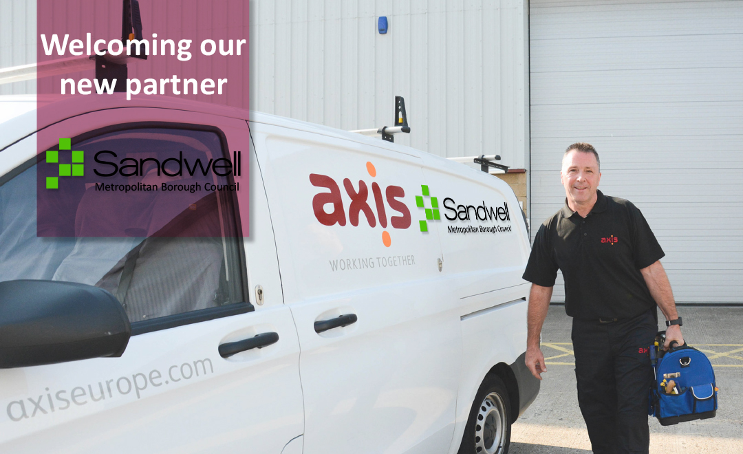 Axis person stood beside van announcing new contract win with sandwell