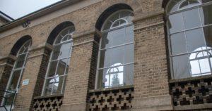 Royal Herbert Pavilions arched windows with decorative brickwork