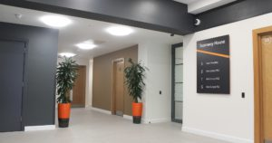 New reception at Axis HQ in Stratford with plants and lifts