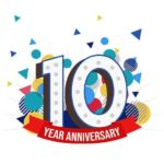 Graphic illustration of 10 Year Anniversary with exploding number ten