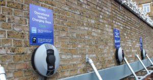 Closeup of Electric Vehicle Parking Bays