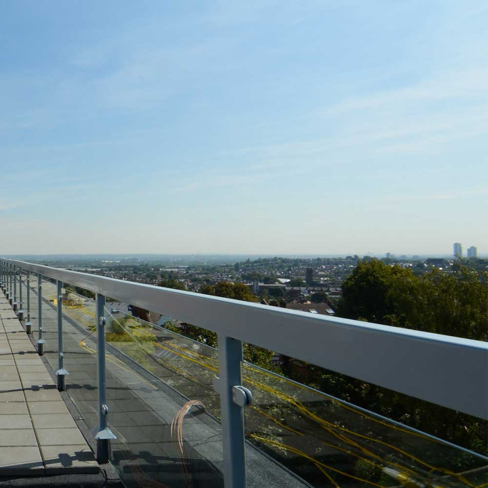 painting and decorating-Rail-on-the-new-roof of altoir court in north London