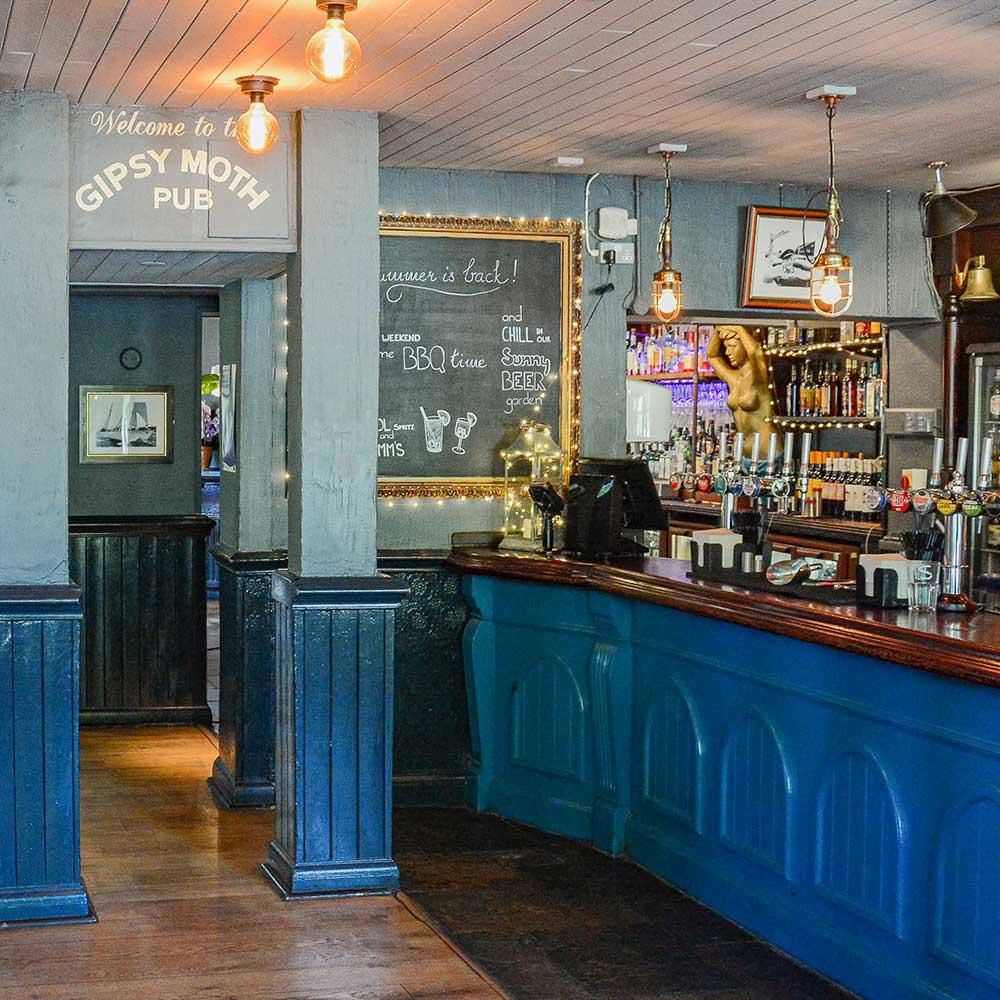 Bar section in a pub refurbishment