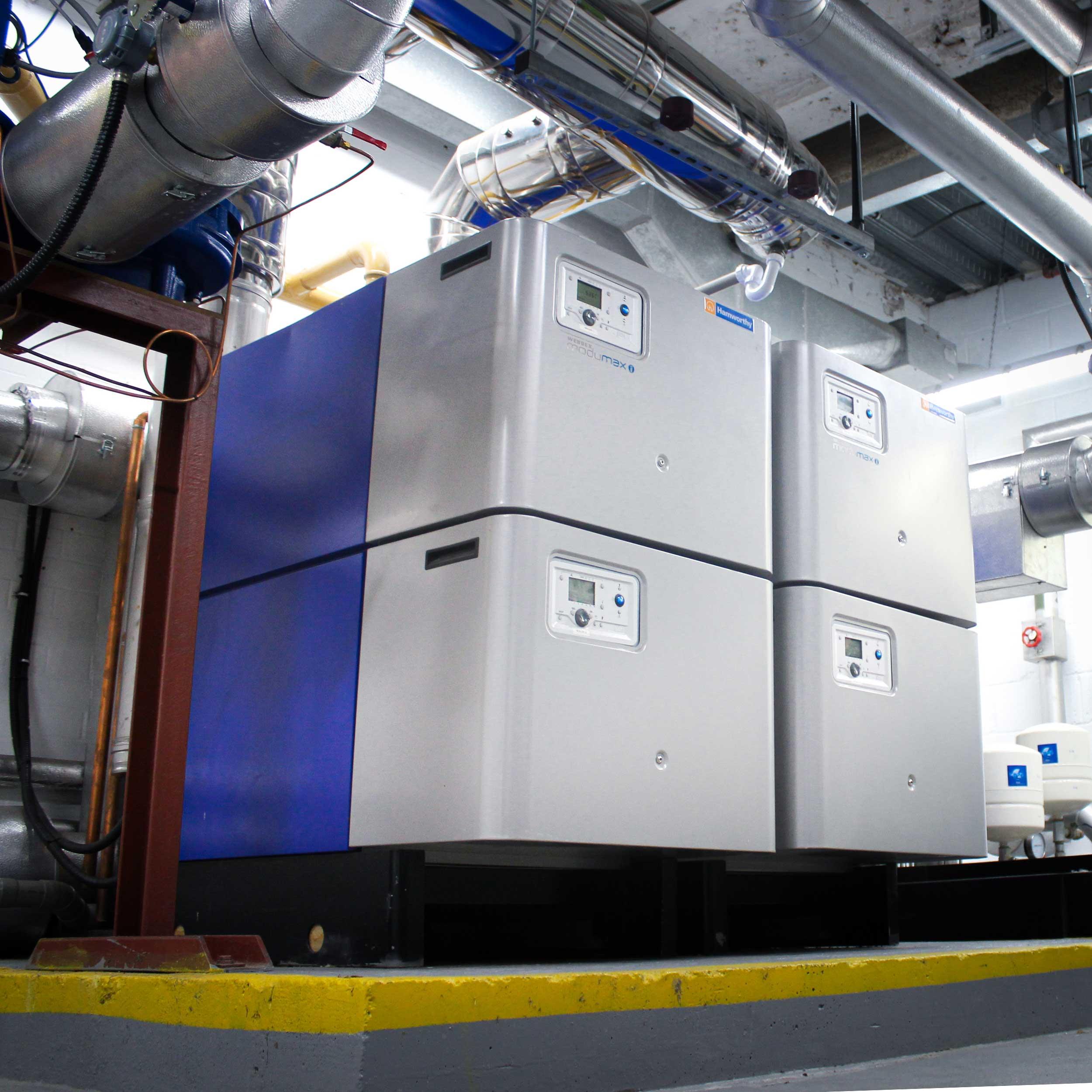 Commercial-boiler-installation-boiler-in-basement-inside with blue paint