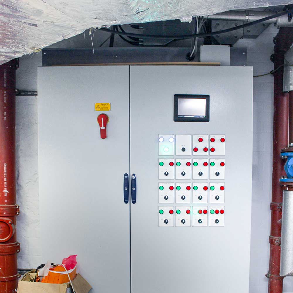 installed control-box-in-basement