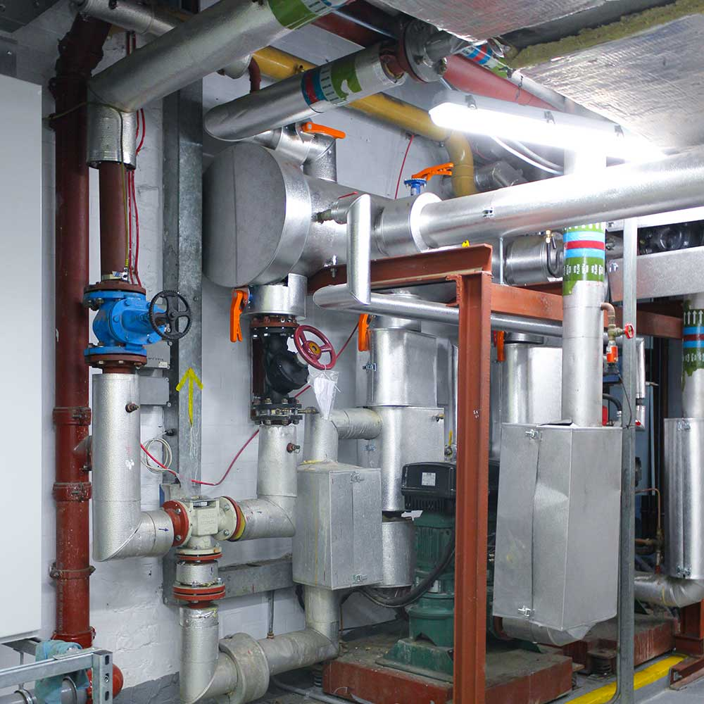 pipes-and-valves-in a commercial boiler installation