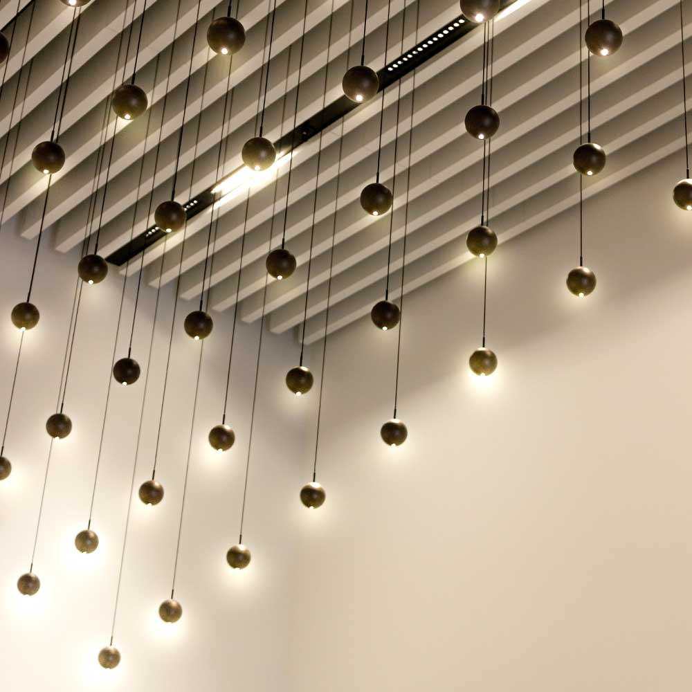 hanging lighting in a Corporate-reception area