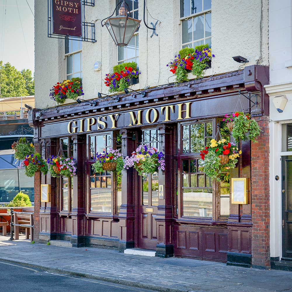 Exterior of pub gipsy moth in greenwich