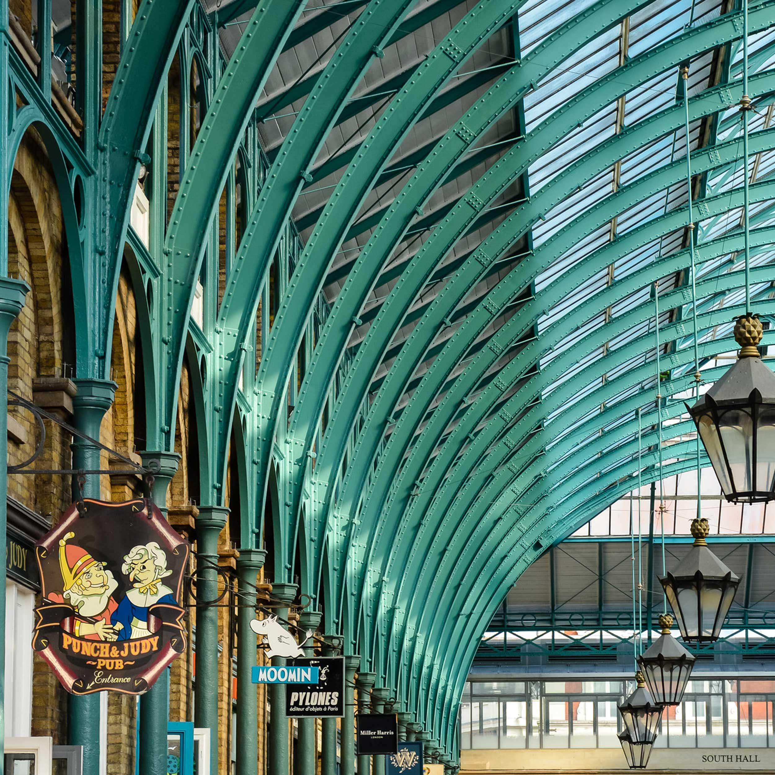 refurbished arched metal supports for the roof at grade two listed Landmark Covent garden