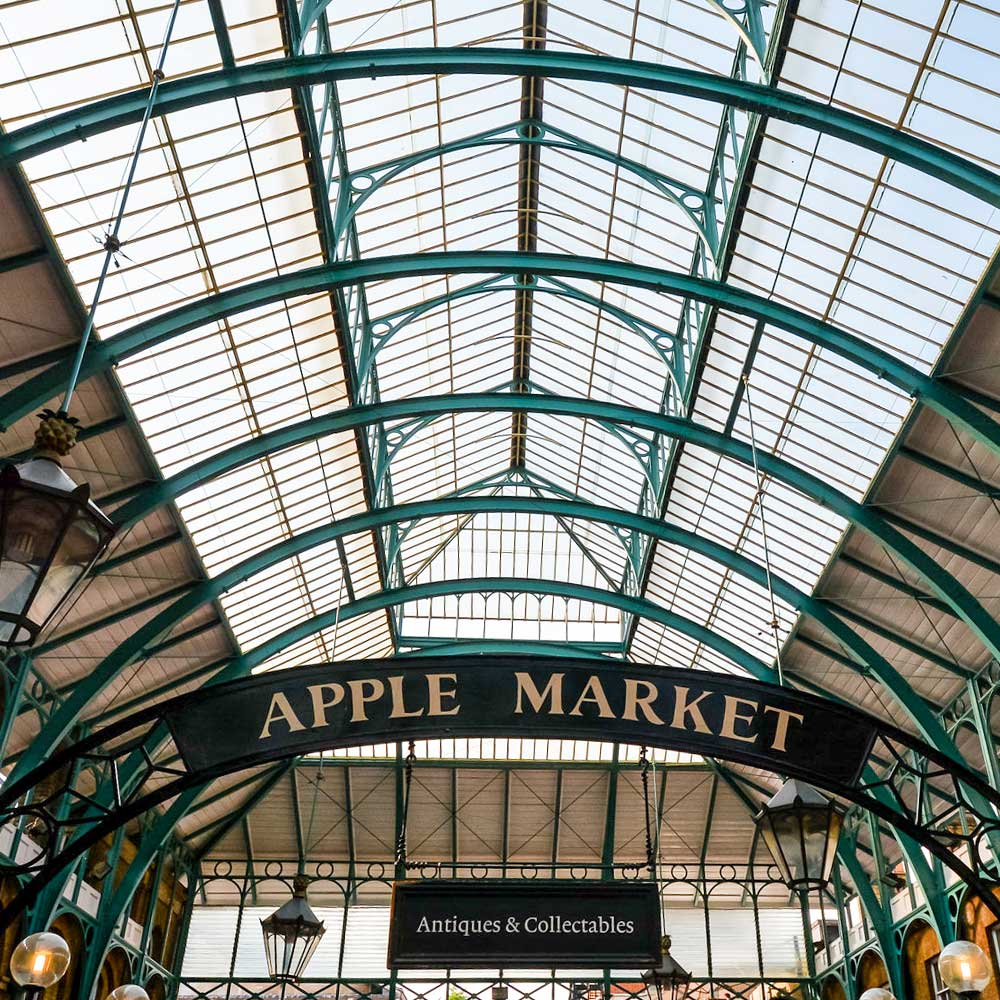 Grade 2 listed heritage building Covent gardens famous apple market including the refurbished sign and roof restoration