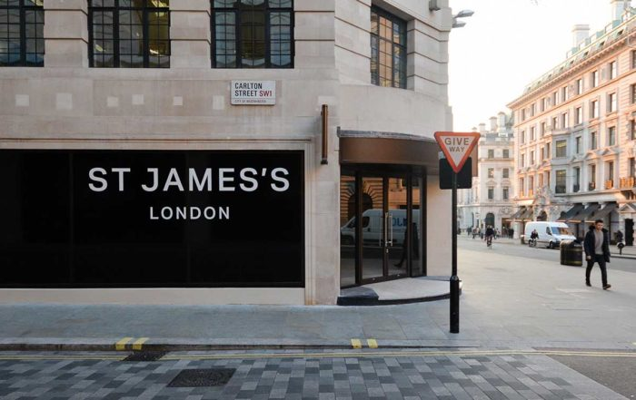 St James's street london with pedestrians passing