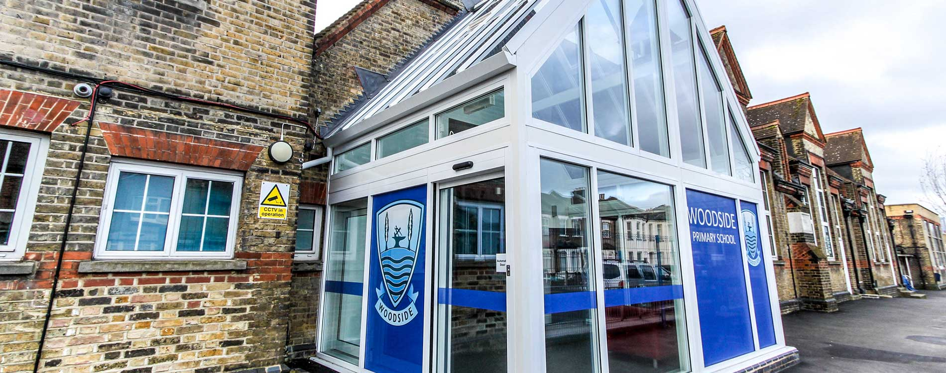 New constructed conservatory entrance to a school in London